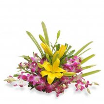 2 Yellow Lilies with 6 Purple orchids Basket