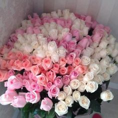 50 White and Pink Roses Basket