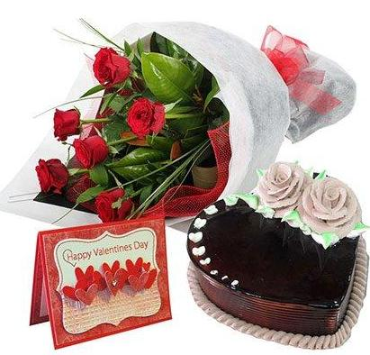 Chocolate Heart Shaped Cake 1 kg Card and 6 Red roses bouquet