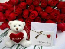 Teddy bear 24 red roses bouquet and Card