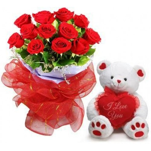 A dozen red roses bouquet with Teddy Bear (6 inches) and Love heart