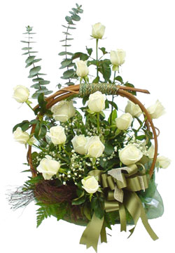 Two Dozen White Roses Basket