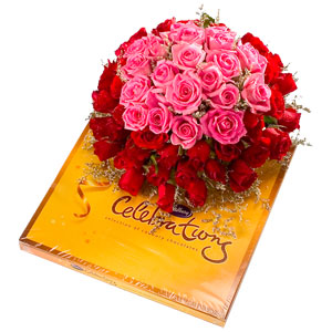 Cadburys Celebration chocolates + 12 pink and red roses