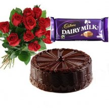 1/2 Kg chocolate Cake with 12 Red Roses 1 Dairy Milk chocolate
