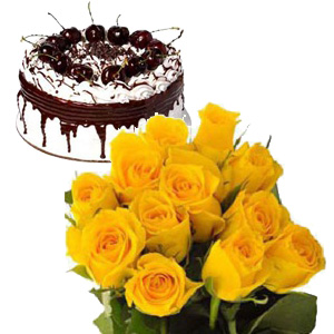 1/2 Kg chocolate cake with 12 yellow roses bouquet
