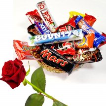 Small chocolate basket with 1 Red Rose