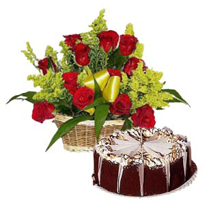 12 Red Roses Basket with half kg chocolate truffle cake