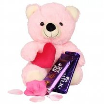 2 Silk chocolates and 12 Inches Pink Teddy