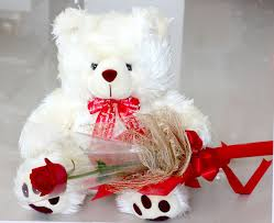 White Teddy bear 12 inches with 1 red rose