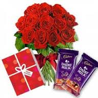 2 Silk chocolate with 12 red roses and Card
