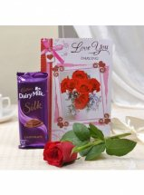 1 Silk chocolate 1 Red roses and Card