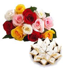1/2 Kg Kaju Katli 12 Mix roses bouquet