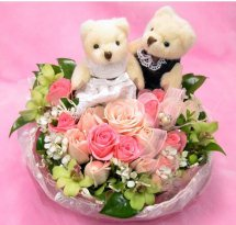2 Teddies with 12 pink roses in same basket