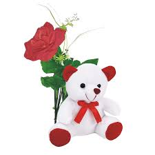 Single red roses with Teddy (6 inches) and small valentine heart