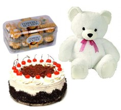 16 Ferrero chocolates 6 inches Teddy 1/2 Kg black forest cake