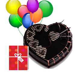 1 Kg Heart Chocolate Cake 7 Balloons Air Filled Card