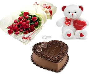 Teddy Heart Chocolate Cake 1 Kg 12 Red Roses