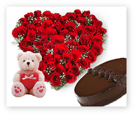 Teddy, 1/2 kg Cake, 24 red roses heart