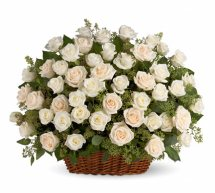 Basket of fresh 40 White roses