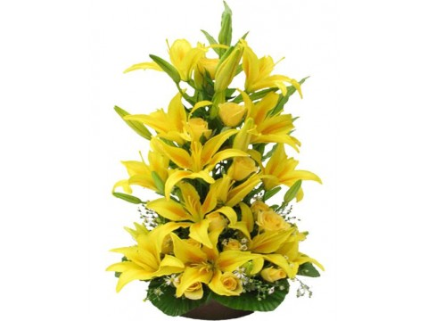 Yellow lilies in basket
