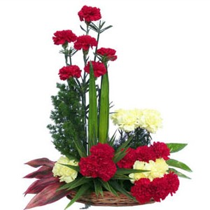 20 Yellow and red Carnations basket